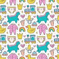 babyartikelen schattig hand getrokken doodle naadloos patroon