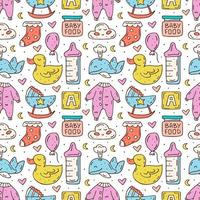 babyverzorging spullen kleurrijke hand getekende naadloze patroon