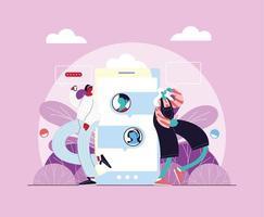 vrouwen staan met smartphone chatten