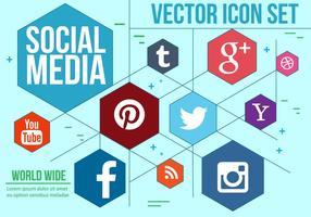 Heksagonale Sociale Pictogrammen Vector