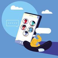 man met smartphone apparaat chatten vector