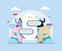 man en vrouw met smartphone chatten vector