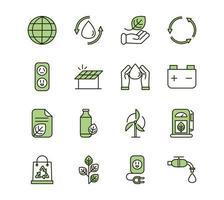 eco en ecologische duurzaamheid groene pictogrammen instellen vector