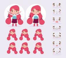 meisje karakter met verschillende hoofden en gezichten ingesteld