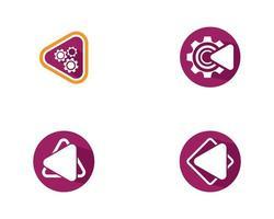 spelen knop icon set vector