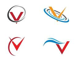 letter '' v '' symbool logo set vector