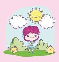 anime jongen met kip buitenshuis
