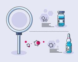 lab iconen en coronavirus onderzoek vector