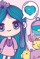 schattig anime meisje met kippen kaartsjabloon