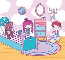 anime meisje en jongen in een slaapkamer spelen