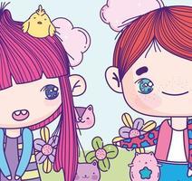 bijgesneden anime meisje en jongen met dieren en bloemen