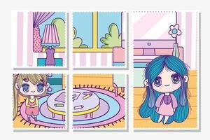 anime meisjes spelen binnenshuis kaarten sjabloon