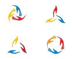 blauw, geel, rood hand zorgpictogram vector