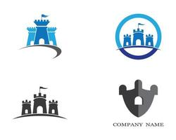 kasteel symbool iconen set vector