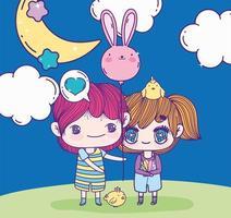 anime schattige jongen en meisje met ballonvormige konijn nacht maan