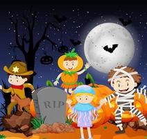 halloween scène met kinderen in kostuums vector
