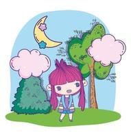 verlegen anime meisje in de natuur