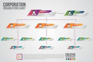 corporate organigramsjabloon met pictogrammen uit het bedrijfsleven vector