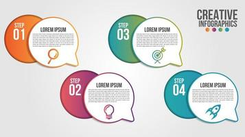 infographic met gradiëntcirkels en tekstballonnen