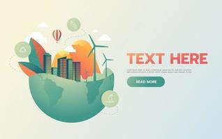 groene stad in het groene concept van aardeeco vector