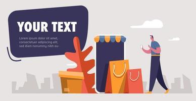 man op smartphone met boodschappentassen
