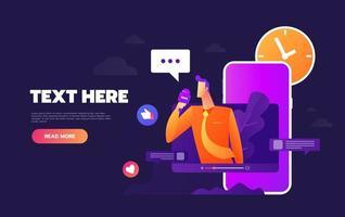 chatten via internet met behulp van mobiele telefoon, sociale netwerken vector