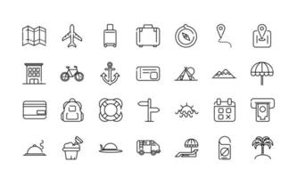 vakantie en toerisme dikke lijn kunst iconen set