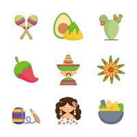 Mexicaans eten pictogrammen instellen vector