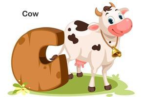 c voor koe vector