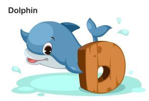 d voor dolfijn vector