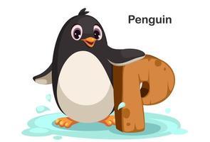 p voor pinguïn vector