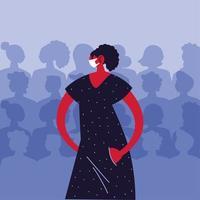 vrouw die medische gezichtsmasker gebruikt om virale infectie te vermijden