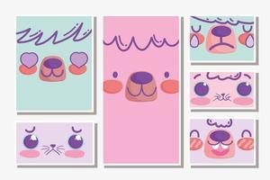 kawaii schattige dieren gezichten set kaarten vector