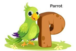 p voor papegaai vector
