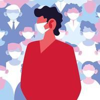 man die een medisch masker gebruikt en virale infectie vermijdt