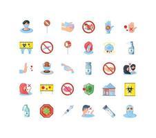 iconen set van coronaviruspreventie vector