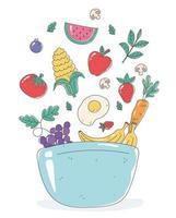 kom met fruit en groenten