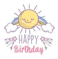 gelukkige verjaardagskaart met zon en regenboog