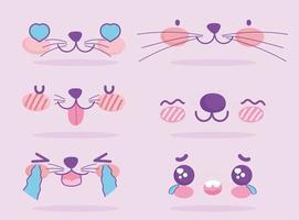 schattige kawaii gezichtsuitdrukkingen emoji-set vector
