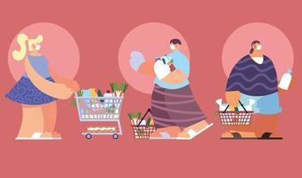 mensen die gezichtsmasker gebruiken bij supermarkt