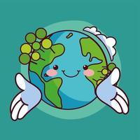 wereld kawaii planeet aarde glimlachen