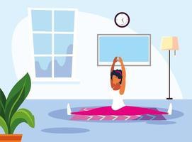 scène van een sportvrouw thuis training vector