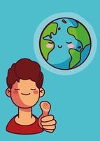 schattige planeet aarde en man met duim omhoog