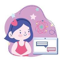 student meisje met een tablet die een online cursus doet vector