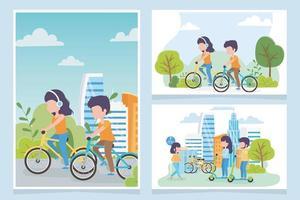 set kaarten met mensen die fietsen en elektrische scooters rijden