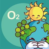 schattige planeet aarde met zon glimlachen