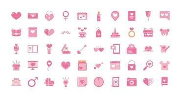 romantische Valentijnsdag roze pictogrammen instellen