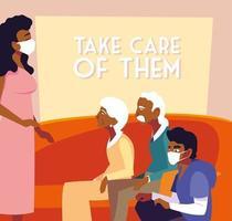 jonge gemaskerde mensen die voor ouderen zorgen