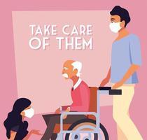 gemaskerde mensen die voor de oude man in een rolstoel zorgen vector