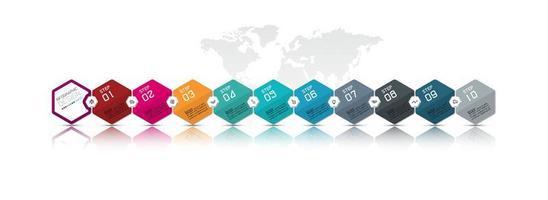 kleurrijk zeshoekig ontwerp met tien stappen